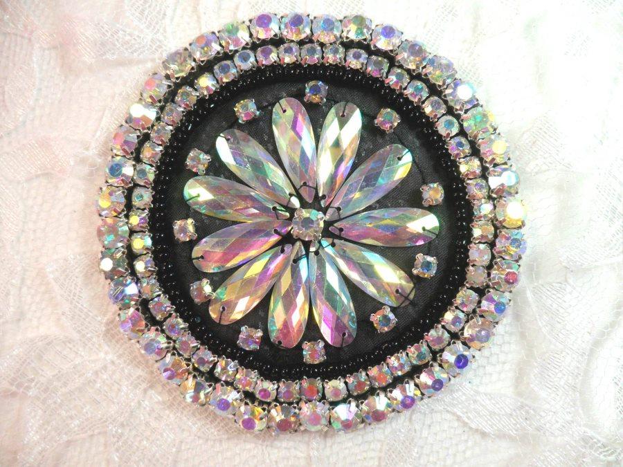 Black Backing Crystal AB Rhinestone Applique Black Beads Round Floral Center Bridal Motif 3.25 (JB267)