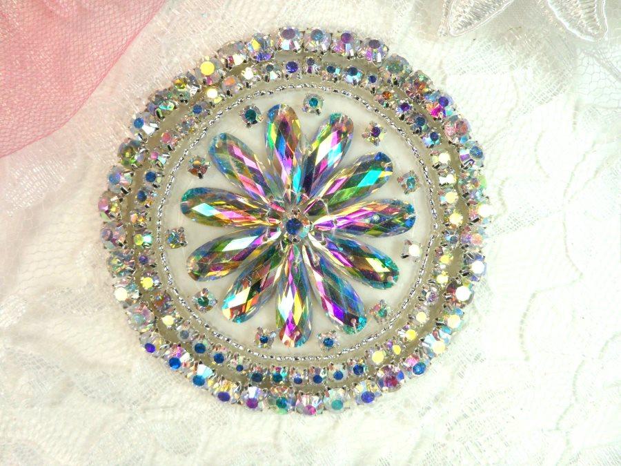 Crystal AB Rhinestone Applique Silver Beads Round Floral Center Bridal Motif 3.25 (JB267)