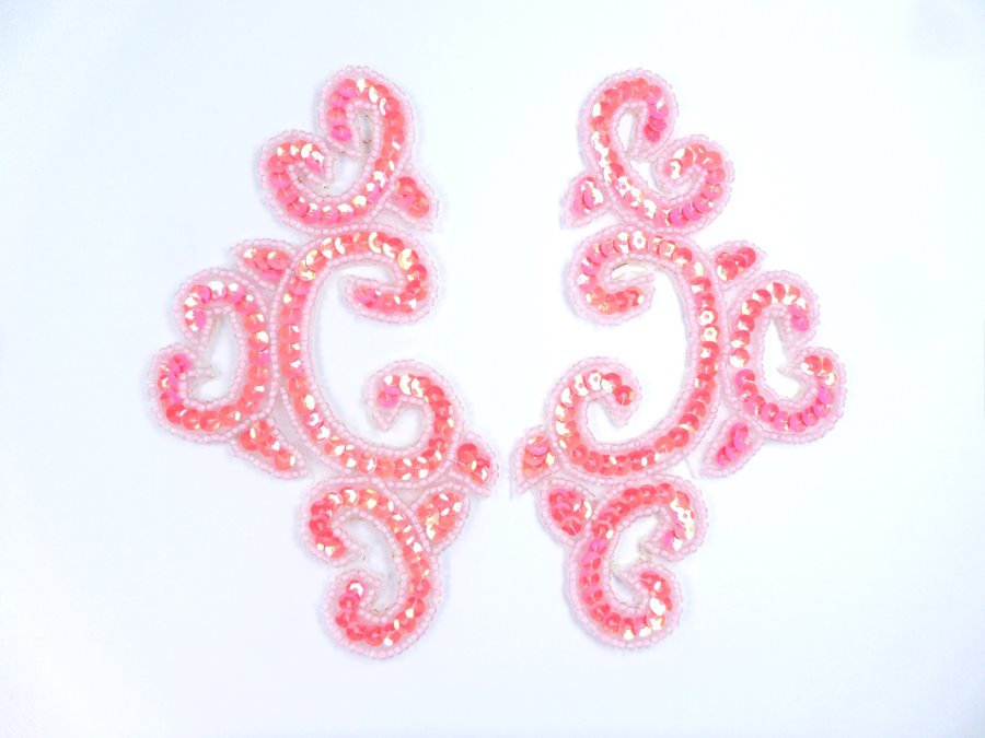 Appliques Sequin Hot Pink Mirror Pair Beaded Clothing Patch 6 JB275X