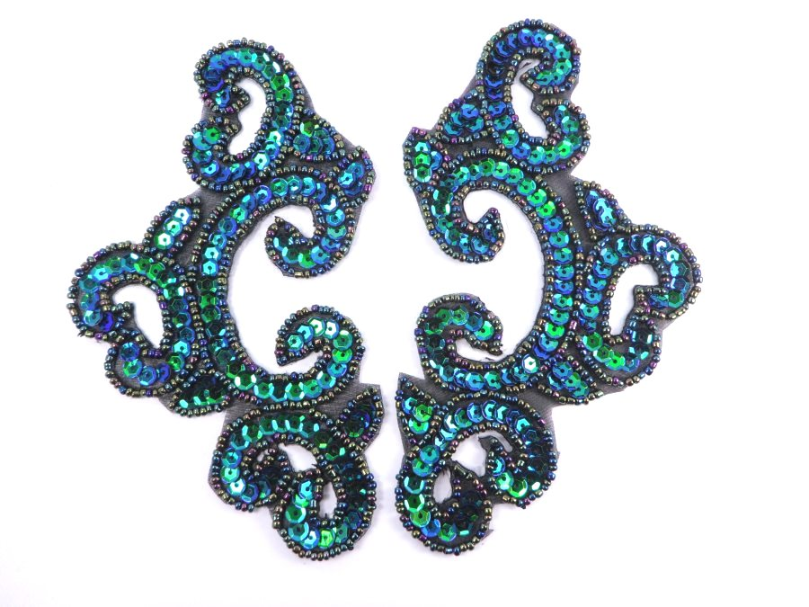 Peacock Black Backing Mirror Pair Sequin Beaded Appliques Dance Costume Clothing Patch 6 JB275X