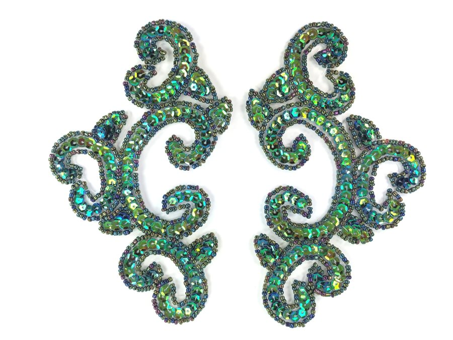 Peacock Mirror Pair Sequin Beaded Appliques Dance Costume Clothing Patch 6 JB275X