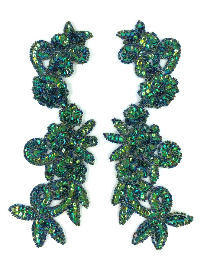 Peacock Mirror Pair Sequin Beaded Appliques Dance Costume Clothing Patch 10 JB276X