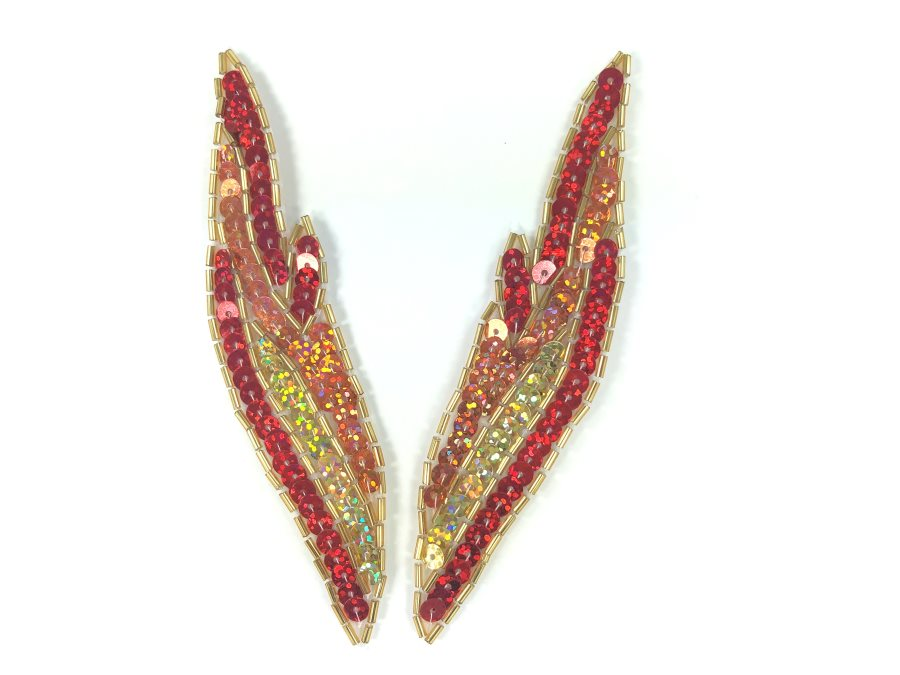 Appliques Flames Red Orange Gold Sequin Beaded MIRROR PAIR 5 JB277X
