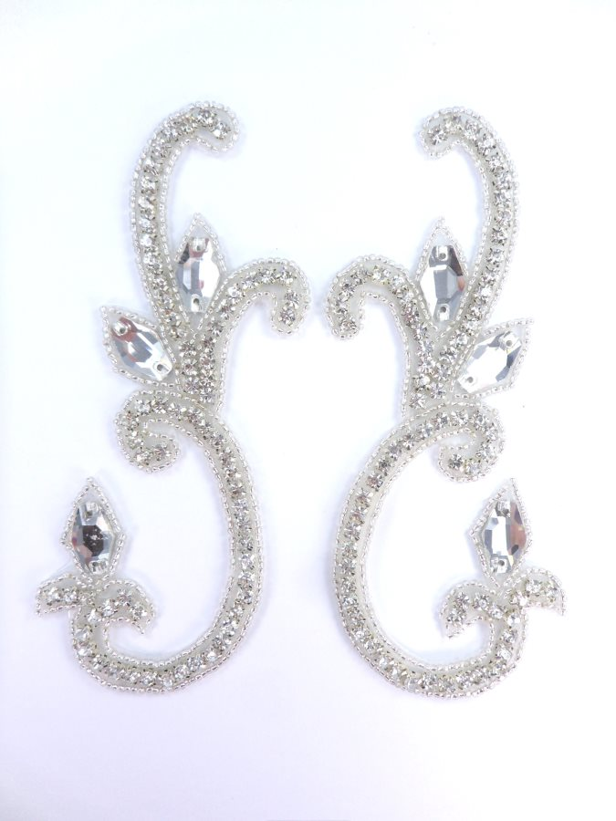 Crystal Rhinestone Appliques Mirror Pair Silver Beaded 6  JB279X