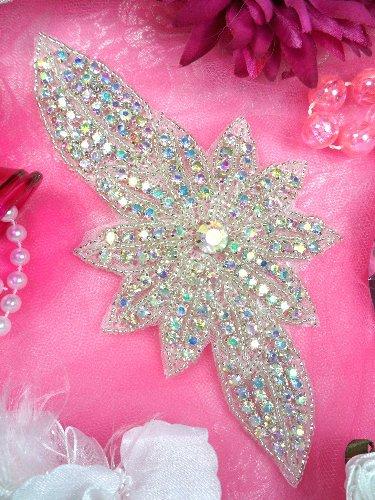 JB33 Aurora Borealis Silver Beaded Floral Crystal AB Rhinestone Applique 6.5