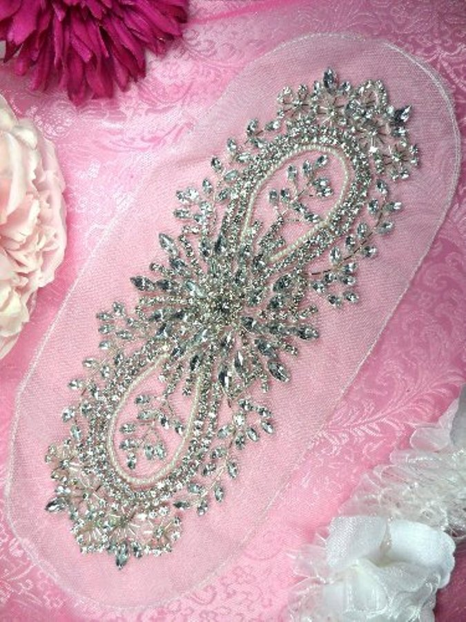 JB34 Crystal Clear Silver Beaded Rhinestone Applique Pearl White Backing 11