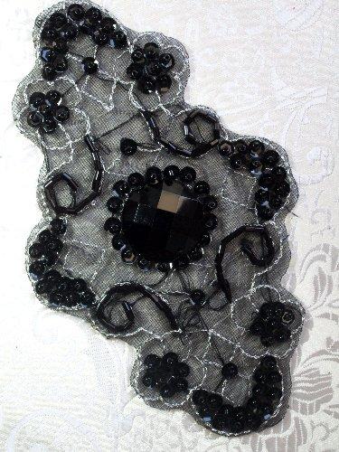 JB35 Emma Black Silver Beaded Sequin Applique 5.75\