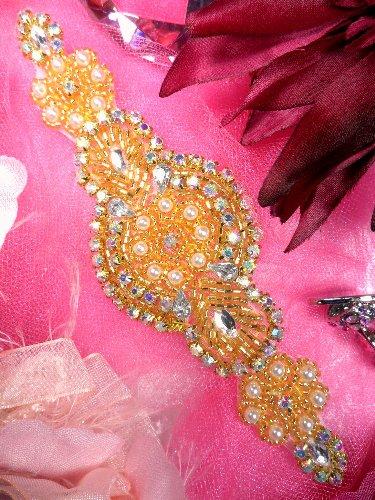 JB41 Lillian Gold Pearl Beaded Crystal Aurora Borealis  AB Rhinestone Applique 6.25\