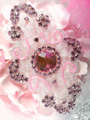 JB42 Cassandra Princess Pink Glass Beaded Rhinestone Applique 5.75