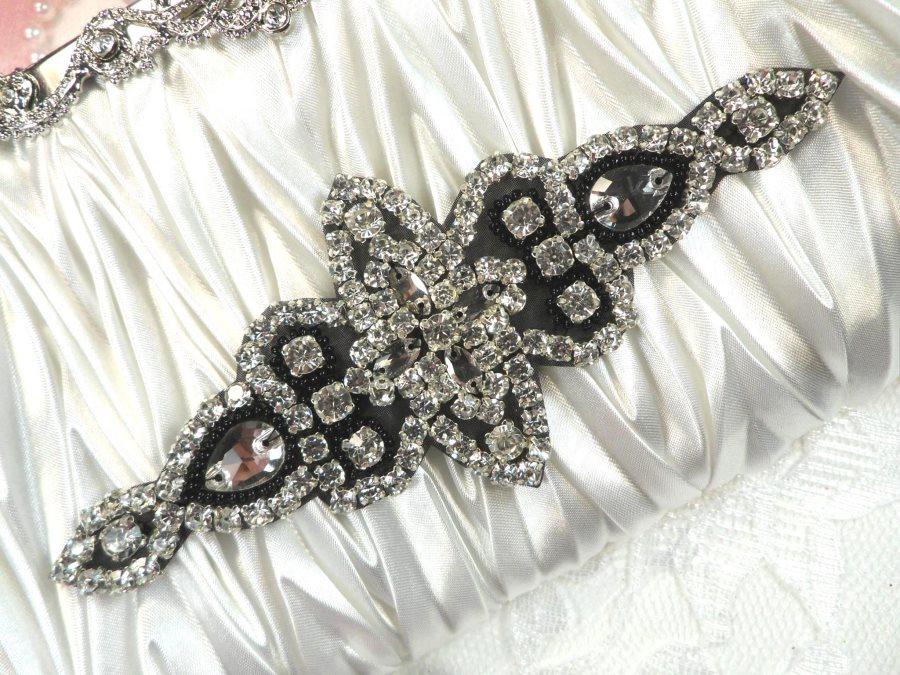 REDUCED Black Backing Black Beaded Crystal Rhinestone Applique Iron-On 6  (RMJB47)