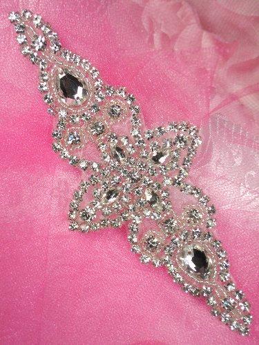 JB47 Hot Fix Silver Beaded Crystal Rhinestone Applique 6\