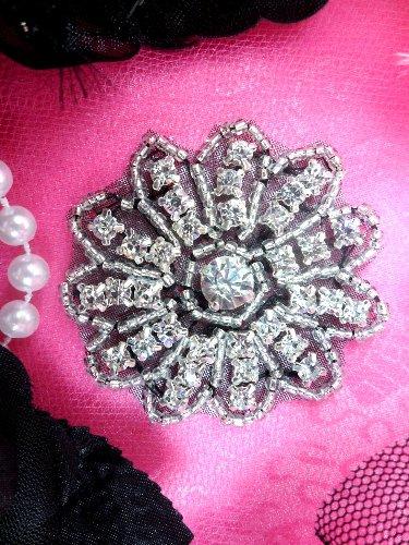 JB57  Rhinestone Applique Black Backing Floral Silver Beaded Crystal  2\