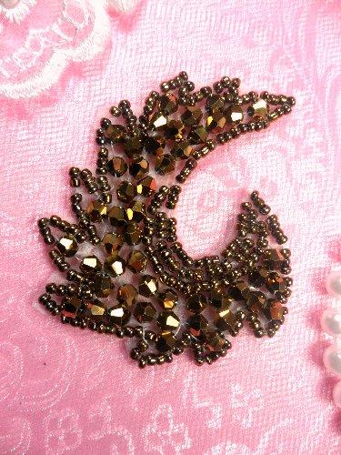 JB60 Bronze Curl Designer Glass Beaded Applique 3\ Hot Fix Iron on