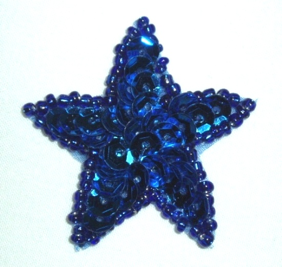 JB73 2.5 inch Blue Star Applique Beaded Sequin Iron on Patch