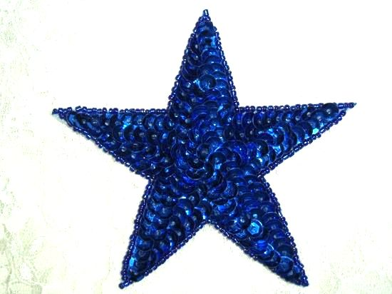 JB75 4 inch Blue Star Beaded Sequin Applique 4 Iron on Patch