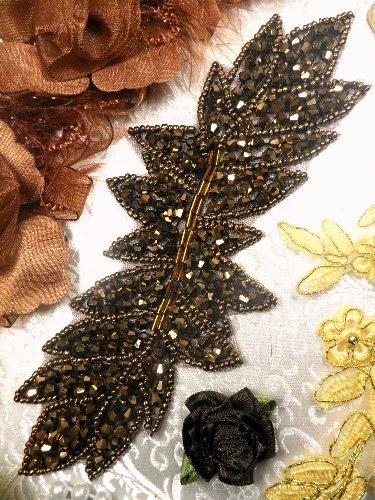 JB77 Bronze Leaf Designer Glass Beaded Applique 7