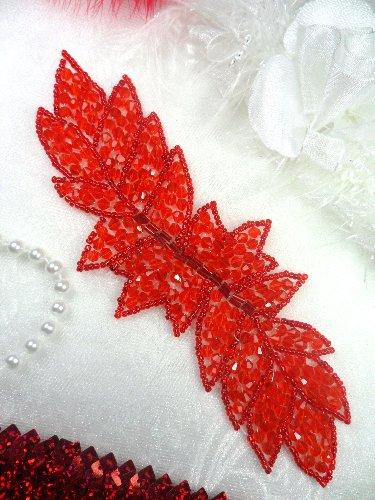 JB77 Red Leaf Designer Glass Beaded Applique 7\