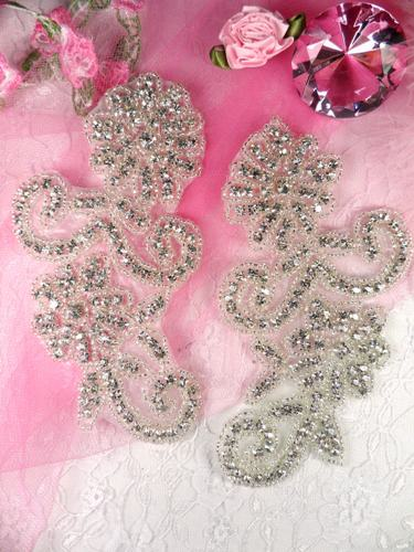 JB8 Crystal Clear Silver Beaded Mirror Pair Rhinestone Appliques 5.5\