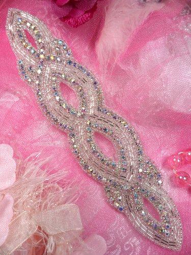 JB9 Aurora Borealis Crystal AB Silver Beaded Rhinestone Applique 8.75\