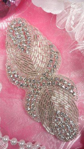 JB92 Crystal Rhinestone Applique Silver Beaded 5.25\