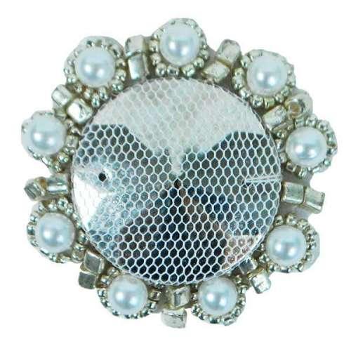 E2622  Silver Bead Pearl Medallion 1.75