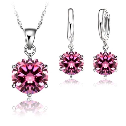 JW1 Pink Crystal Necklace Earring Set 8mm Cubic Zircon 925 Sterling Silver Lever Back.
