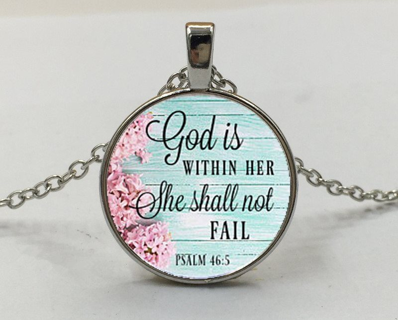 Scripture Pendant God is Within Her She Shall Not Fail Inspirational Necklace Christian Jewelry w/ Silver Chain JW106