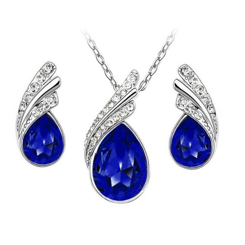 7b18835c5f45c Necklace Earring Set Silver Crystal Rhinestone Royal Blue