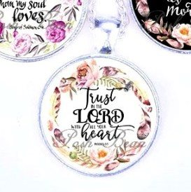 Scripture Necklace Trust In The Lord With All Your Heart Pendant Inspirational Christian Jewelry w/ Silver Chain JW118