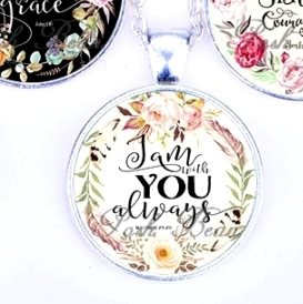 Scripture Necklace I Am With You Always Pendant Inspirational Christian Jewelry w/ Silver Chain JW137