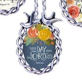 Scripture Necklace This Is The Day Which The Lord Has Made Dove Pendant Inspirational Christian Jewelry w/ Silver Chain JW145