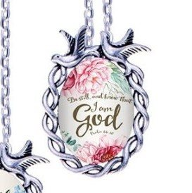 Scripture Necklace Be Still And Know That I Am God Dove Pendant Inspirational Christian Jewelry w/ Silver Chain JW149