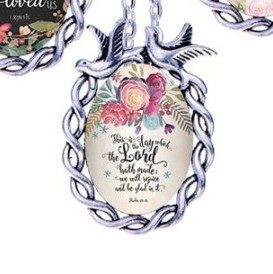 Scripture Necklace This Is The Day Which The Lord Hath Made We Will Rejoice And Be Glad In It Dove Pendant Inspirational Christian Jewelry w/ Silver Chain JW152