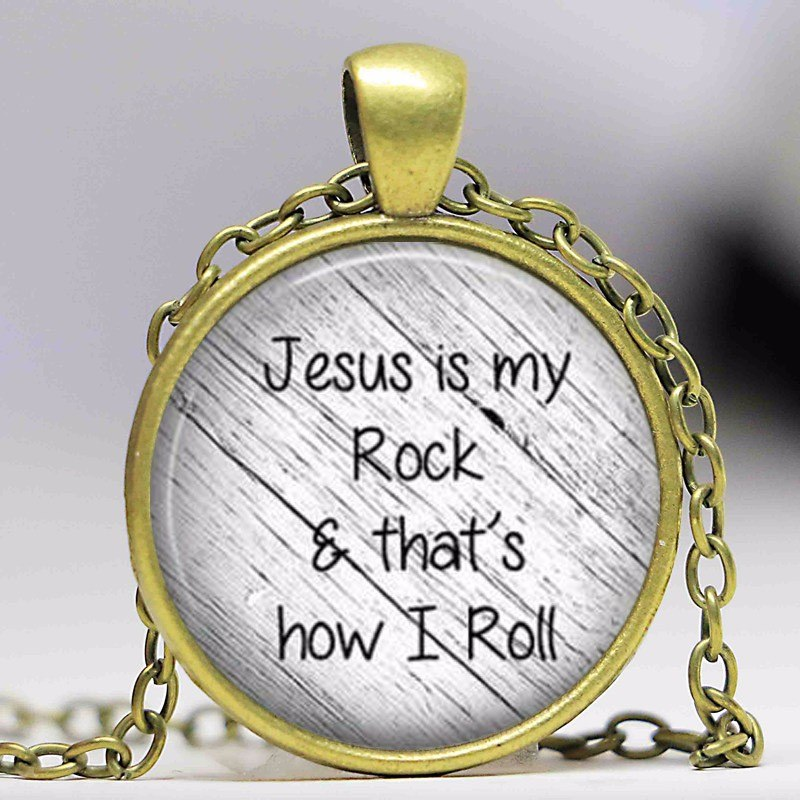 Jesus is my Rock and That's How I Roll Necklace Pendant Inspirational Christian Jewelry w/ Gold Chain JW165