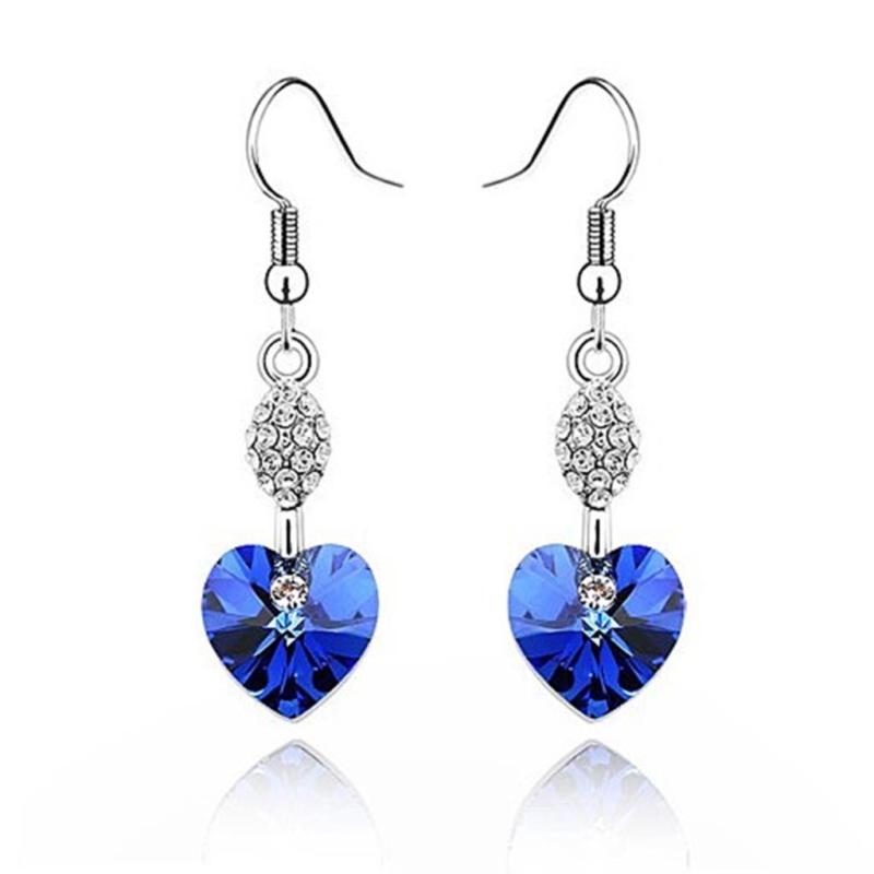 earrings silver rhinestone royal blue heart jewelry