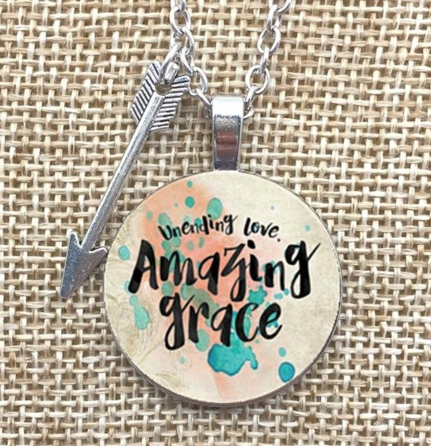 Unending Love Amazing Grace Necklace Pendant Arrow Charm Inspirational Christian Jewelry w/ Silver Chain JW171