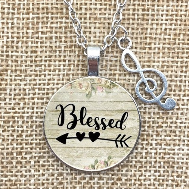 Blessed Necklace Pendant Musical Note Charm Inspirational Christian Jewelry w/ Silver Chain JW172