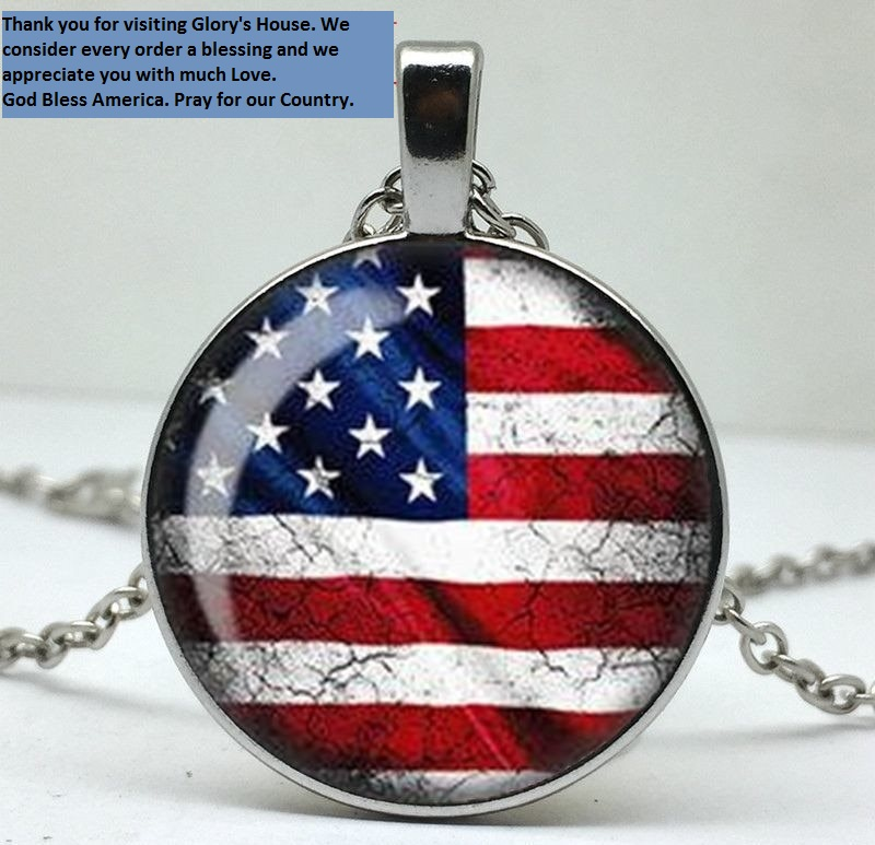 God Bless America Necklace Pendant w/ Silver Chain Patriotic USA Flag Fashion Jewelry JW179
