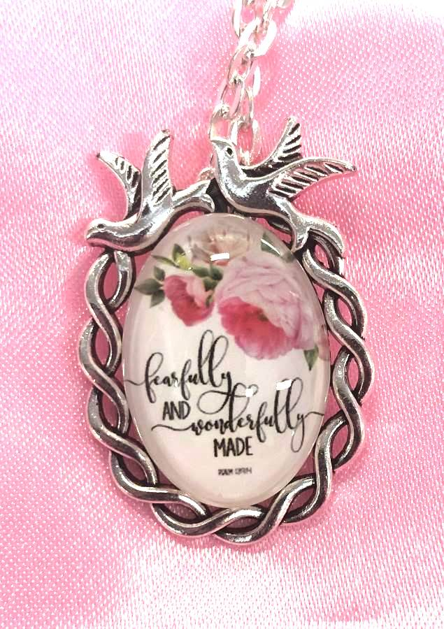 Scripture Necklace Fearfully And Wonderfully Made Dove Pendant Inspirational Christian Jewelry w/ Silver Chain JW182