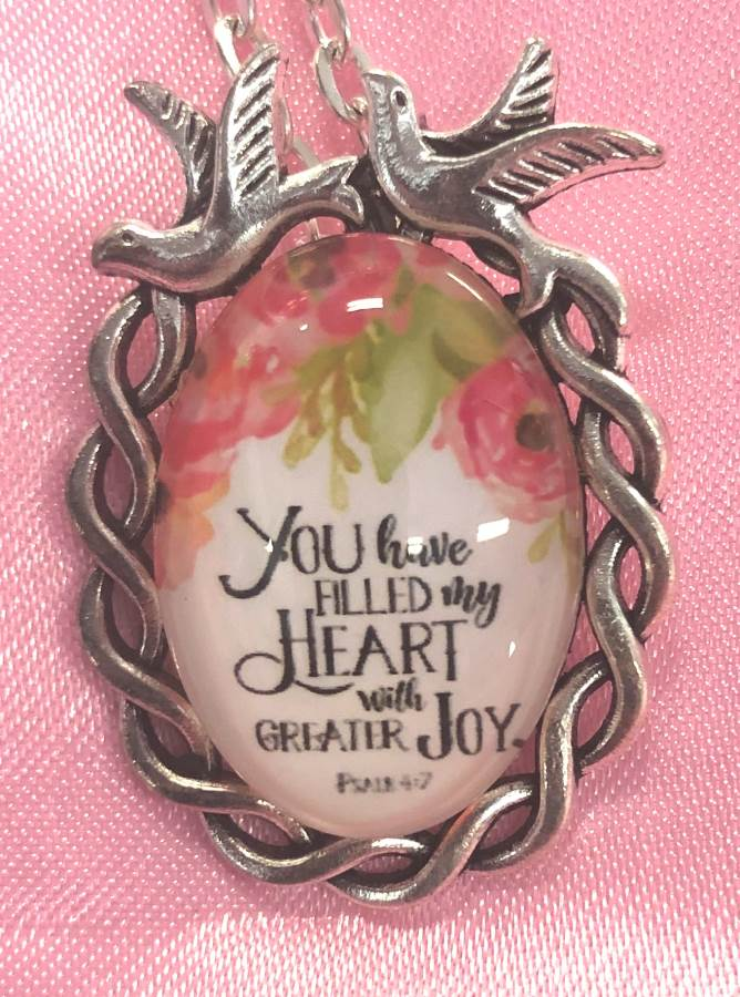 Scripture Necklace You Have Filled Thy Heart With Greater Joy Dove Pendant Inspirational Christian Jewelry w/ Silver Chain JW183