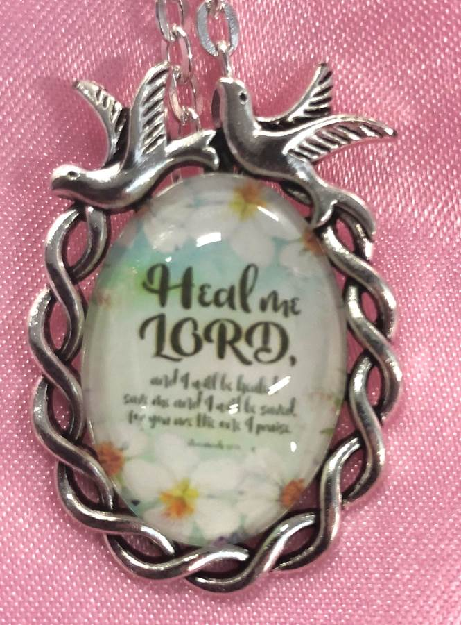 Scripture Necklace Heal Me Lord Dove Pendant Inspirational Christian Jewelry w/ Silver Chain JW187
