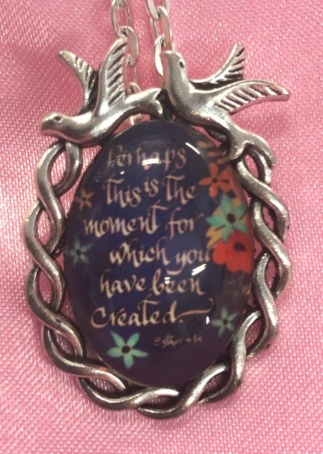Scripture Necklace Perhaps This Is The Moment For Which You Have Been Created Dove Pendant Inspirational Christian Jewelry w/ Silver Chain JW190