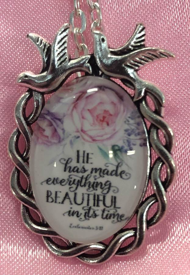 Scripture Necklace He Has Made Everything Beautiful In It's Time Dove Pendant Inspirational Christian Jewelry w/ Silver Chain JW192