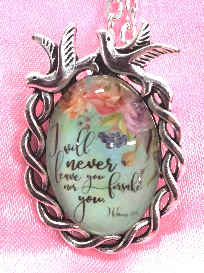Scripture Necklace I Will Never Leave You Nor Forsake You Dove Pendant Inspirational Christian Jewelry w/ Silver Chain JW196
