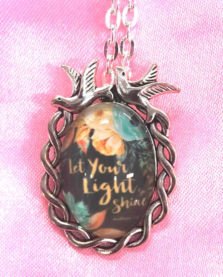 Scripture Necklace Let Your Light Shine Dove Pendant Inspirational Christian Jewelry w/ Silver Chain JW197