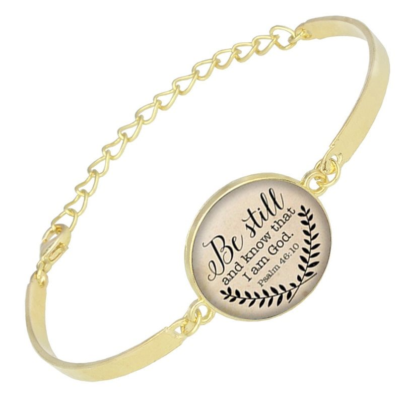 Bracelet Scripture Pendant Be Still and Know that I am God Inspirational Christian Jewelry Gold JW215