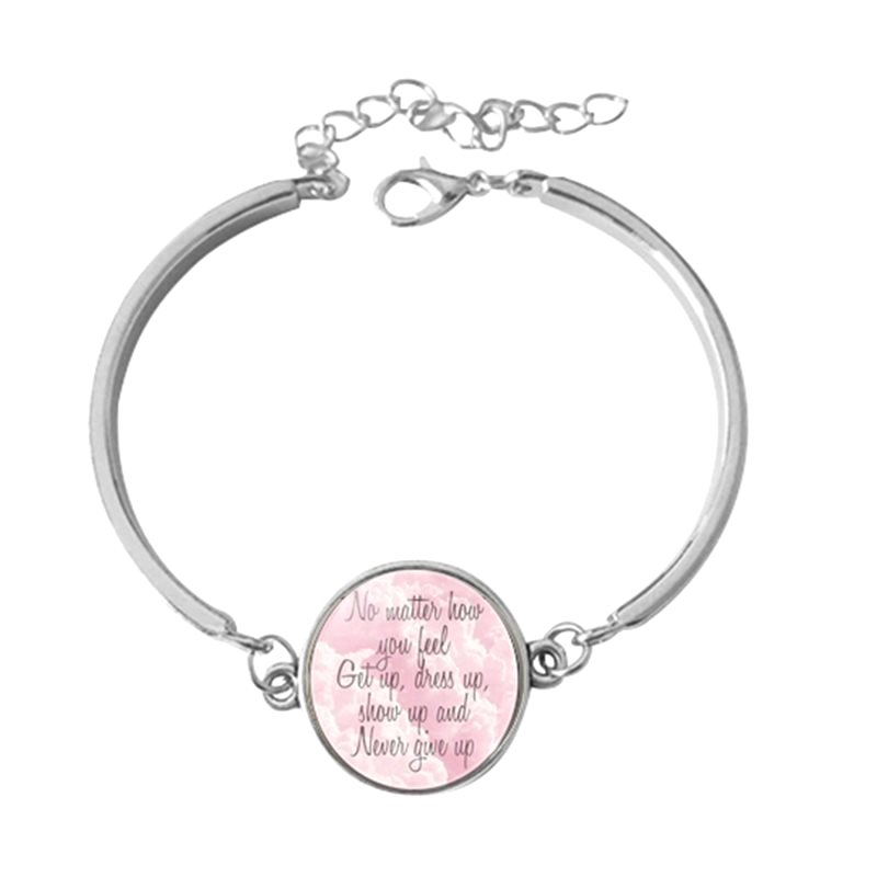 Motivational Bracelet Silver Pendant No Matter How You Feel, Get Up, Dress Up, Show Up and Never Give up  JW216