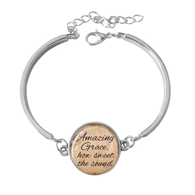 Bracelet Scripture Pendant Amazing Grace How Sweet the Sound Inspirational Christian Jewelry Silver JW217