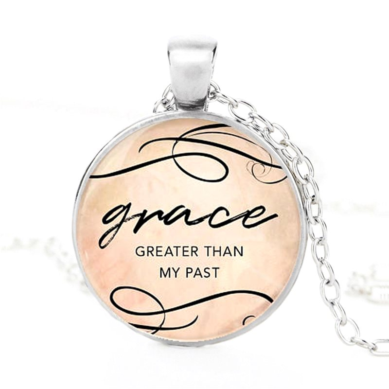 Scripture Pendant Necklace Grace Greater Than My Past Inspirational Christian Jewelry w/ Silver Chain JW219