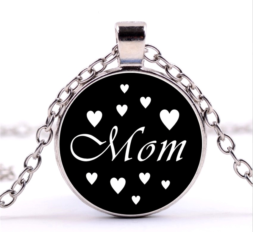 Mom Necklace Pendant Black w/ White Hearts Costume Fashion Jewelry w/ Silver Chain JW225